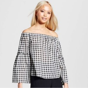 Who What Wear Gingham Bell Sleeve Cold Shoulder